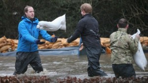 BBC picture: Princes William & Harry moving sandbags at Datchet